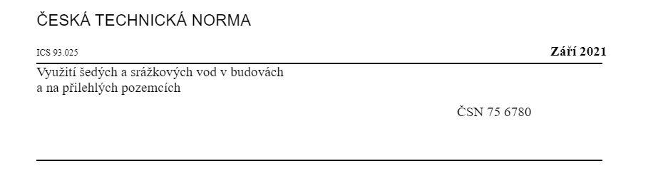 Nová norma ČSN 75 6780