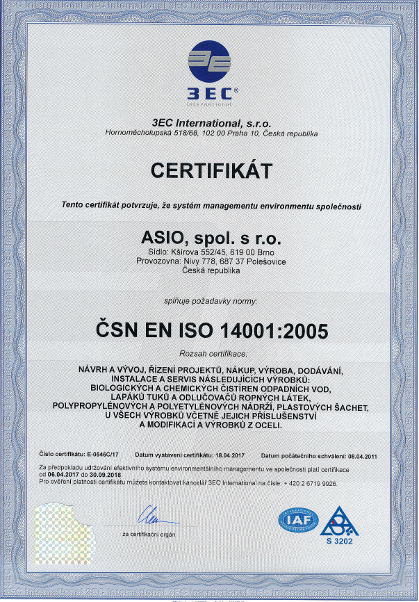ISO 14001 2005 _ ASIO_EMS_CZ _ 2017